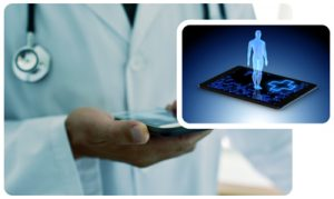 Collage image of doctor holding iPad and mobile phone with illustrated man above it
